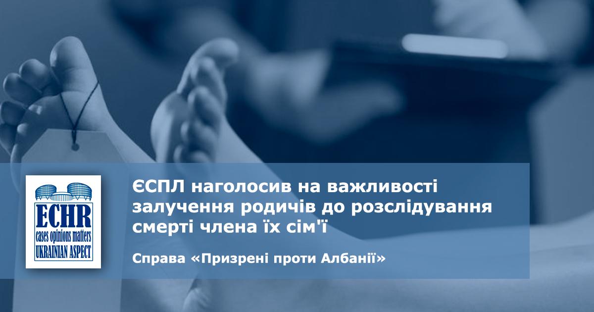рішення ЄСПЛ у справі «Призрені проти Албанії» (заява № 29309/16)