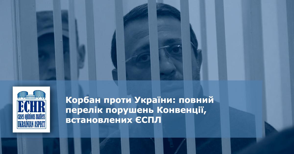 рішення ЄСПЛ у справі «Корбан проти України» (заява № 26744/16)