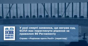 рішення ЄСПЛ у справі «Родіонов проти Росії», перегляд