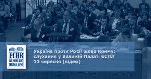 Україна проти Росії щодо Криму: слухання у Великій Палаті ЄСПЛ 11 вересня (відео)