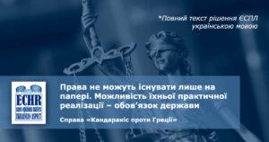 реалізація права. рішення ЄСПЛ у справі «Кандаракіс проти Греції»