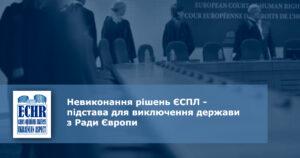 Невиконання рішень ЄСПЛ - підстава для виключення держави з Ради Європи
