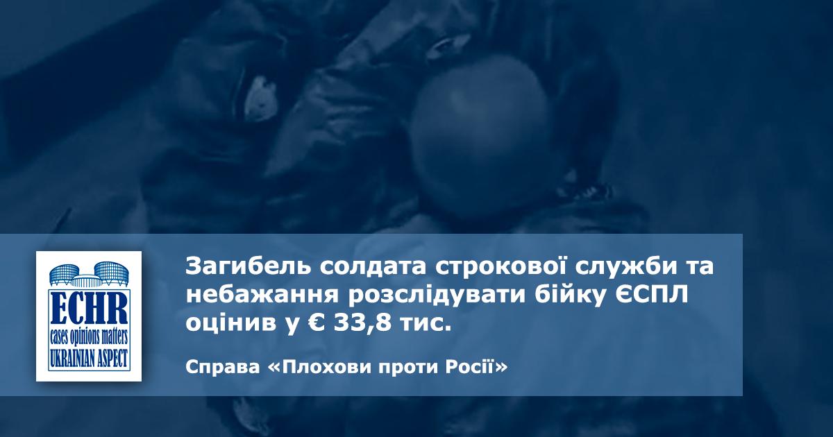 дідовщина. рішення ЄСПЛ у справі «Плохови проти Росії»